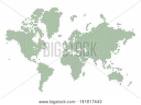Green dotted world map. Contries from dots concept