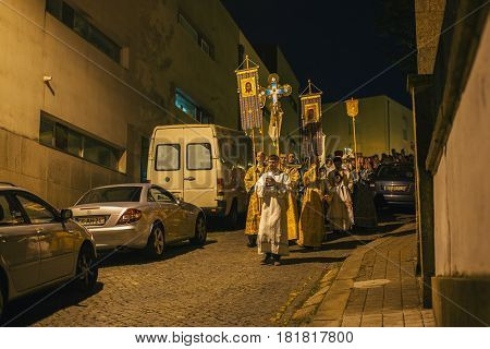 PORTO, PORTUGAL - APR 16, 2017: Night Easter procession during celebrations of Orthodox Easter in Parish of Sainted New Martyrs and Confessors of Russia at Russian Orthodox Church.
