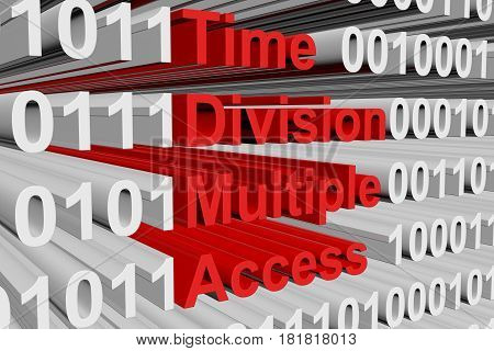 Time division multiple access in the form of binary code, 3D illustration