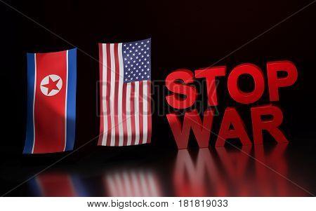 Illustration symbolize war between USA and North Korea. 3D rendering.