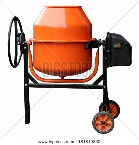 Orange concrete mixer isolated on the white background.