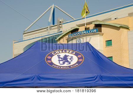 Chelsea London United Kingdom - 8 April 2017: Chelsea FC tent with ground in background