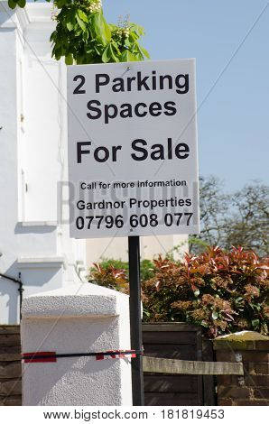 Chelsea London United Kingdom - 8 April 2017: Parking spaces for sale sign in Central London