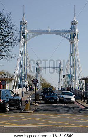Chelsea London United Kingdom - 8 April 2017: Albert Bridge from Chelsea Embankment