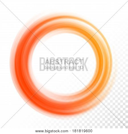 Abstract transparent orange swirl circle. Vector illustration Eps 10