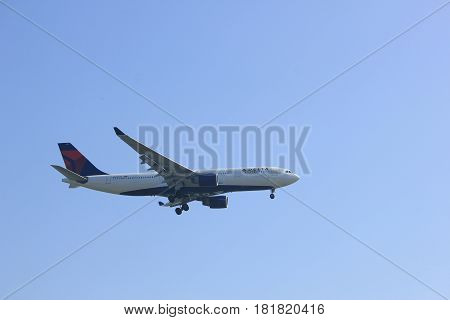 Amsterdam the Netherlands - April 9th 2017: N860NW Delta Air Lines Airbus A330-223 approaching Polderbaan runway at Schiphol Amsterdam Airport the Netherlands