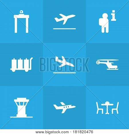 Set Of 9 Airplane Icons Set.Collection Of Aircraft, Rectifier, Chopper And Other Elements.
