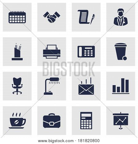 Set Of 16 Service Icons Set.Collection Of Presentation, Printer, Calendar And Other Elements.