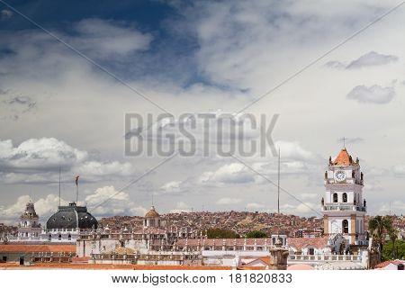 Cityscape of bolivian capital Sucre Altiplano Bolivia poster