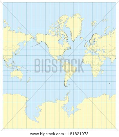 Map Of The World Mercator America