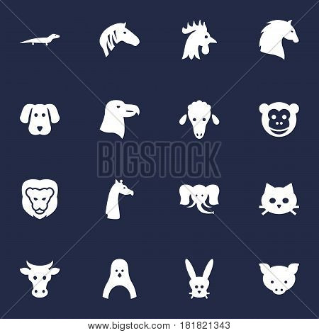 Set Of 16 Beast Icons Set.Collection Of Bunny, Mutton, King And Other Elements.