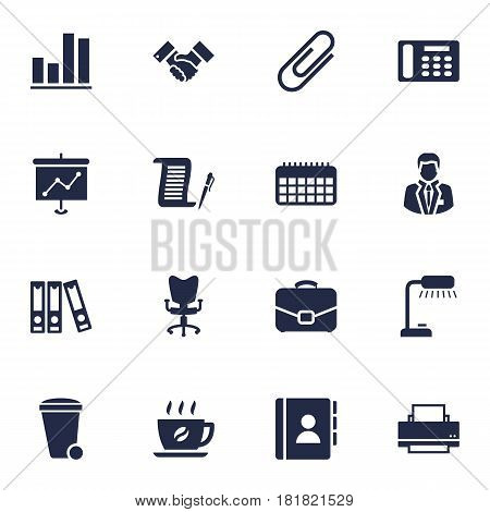 Set Of 16 Service Icons Set.Collection Of Contract, Address Book, Diagram And Other Elements.