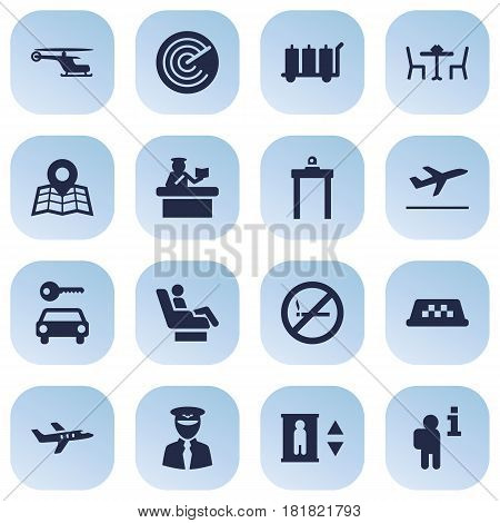 Set Of 16 Airplane Icons Set.Collection Of Aircraft, Location, Chopper And Other Elements.