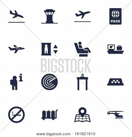 Set Of 16 Aircraft Icons Set.Collection Of Lift, Forbidden, Aircraft And Other Elements.