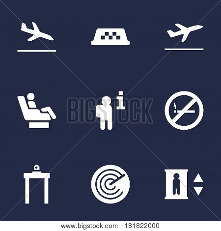 Set Of 9 Airplane Icons Set.Collection Of Lift, Vip, Leaving And Other Elements.