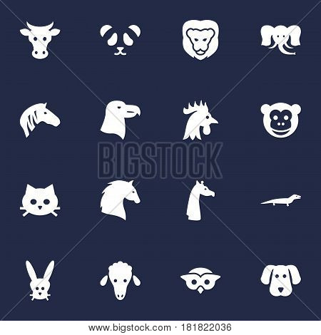 Set Of 16 Beast Icons Set.Collection Of Kine, King, Rooster And Other Elements.