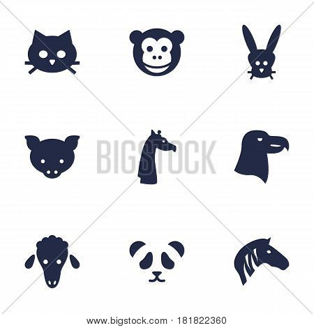 Set Of 9 Beast Icons Set.Collection Of Bear, Ape, Hog And Other Elements.