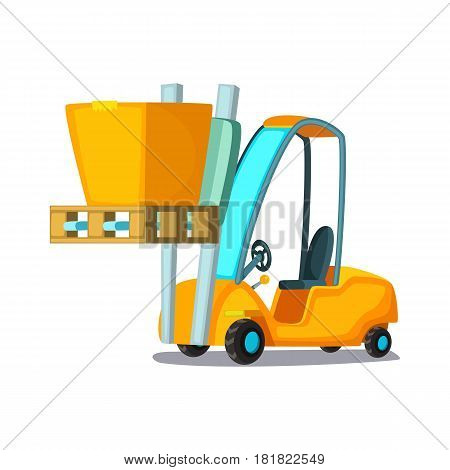 Forklift carries with pasteboard box on a white background. Concept cartoon vector illustration for business, info graphic, web, icon, presentations, advertising