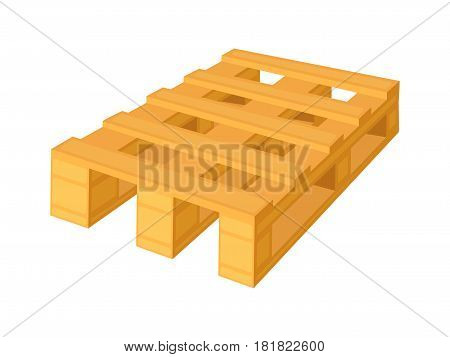 Wooden pallet in perspective, front and side view with dimensions isolated on a white background. Concept vector illustration