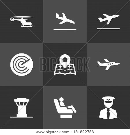 Set Of 9 Land Icons Set.Collection Of Aviator, Leaving, Location And Other Elements.