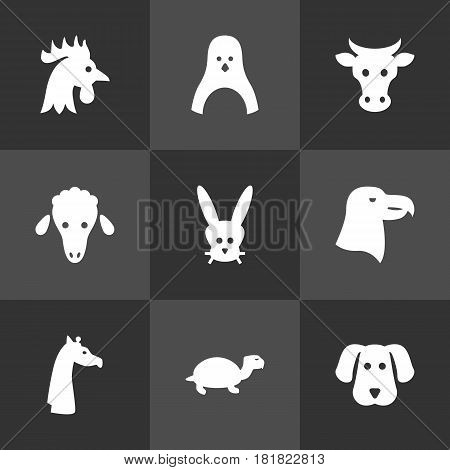 Set Of 9 Beast Icons Set.Collection Of Hound, Kine, Mutton And Other Elements.