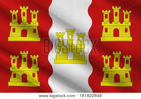 Flag of Vienne is a department in the French region of Nouvelle-Aquitaine. 3d illustration