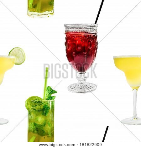 A seamless pattern of vibrant cocktails on white background, including the classic Margarita and Mojito