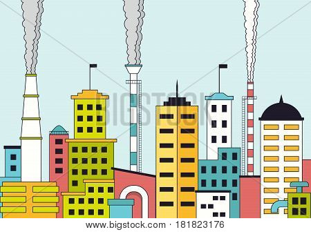 Polluted industrial city with factories and chimneys with smoke. Urban landscape modern city with industrial plants. Cityscape with skyscrapers. Vector illustration in flat style.