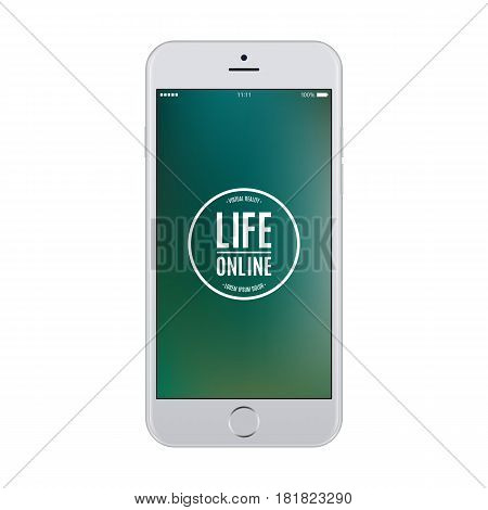 smartphone grey color with blank colored screen isolated on white background. stock vector illustration eps10