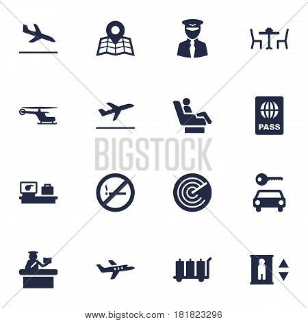 Set Of 16 Airplane Icons Set.Collection Of Leaving, Carriage, Location And Other Elements.