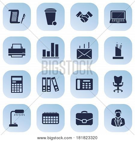 Set Of 16 Work Icons Set.Collection Of Calendar, Contract, Diagram And Other Elements.