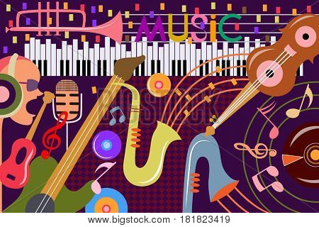 vector illustration of abstract Music collage background