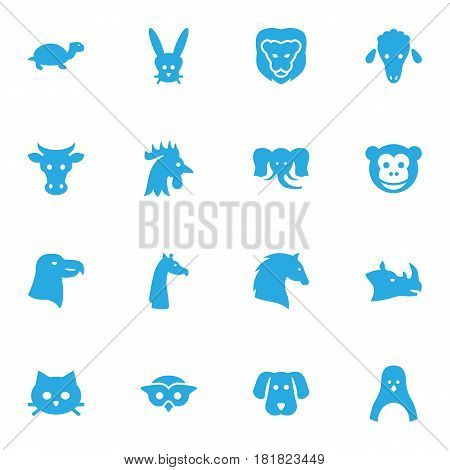 Set Of 16 Beast Icons Set.Collection Of Steed, Owl, Camelopard And Other Elements.