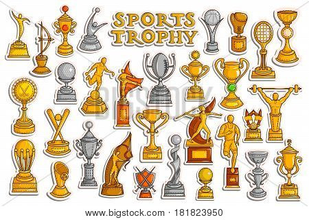 vector illustration of sticker collection for Sports Victory Gold Cups and Trophy