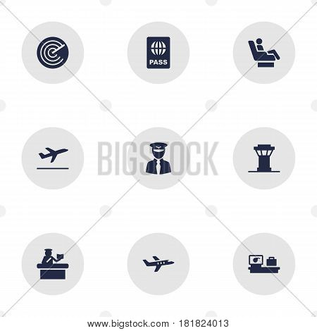 Set Of 9 Land Icons Set.Collection Of Radiolocator, Aviator, Leaving And Other Elements.