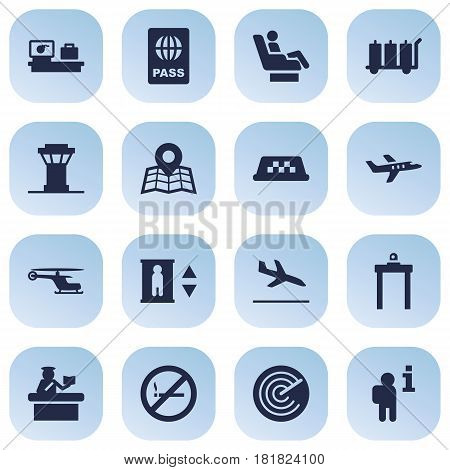 Set Of 16 Land Icons Set.Collection Of Resolver, Carriage, Forbidden And Other Elements.