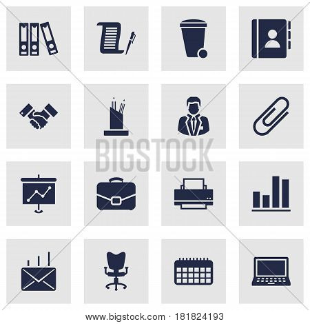 Set Of 16 Bureau Icons Set.Collection Of Diagram, Pencil Stand, Address Book Elements.