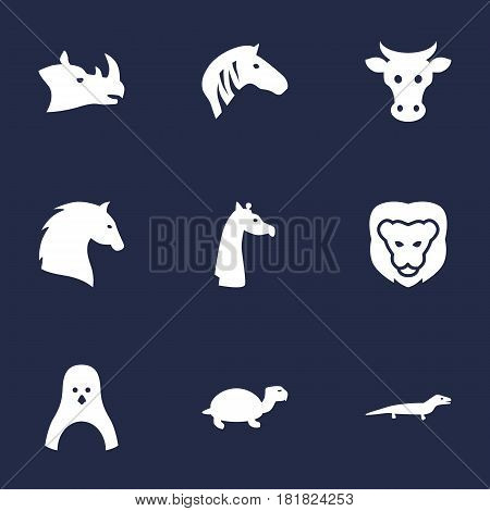 Set Of 9 Beast Icons Set.Collection Of Sea Bird, King, Steed And Other Elements.
