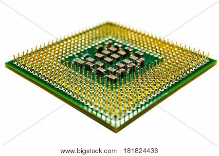 Computer processor closeup isolated on a white background