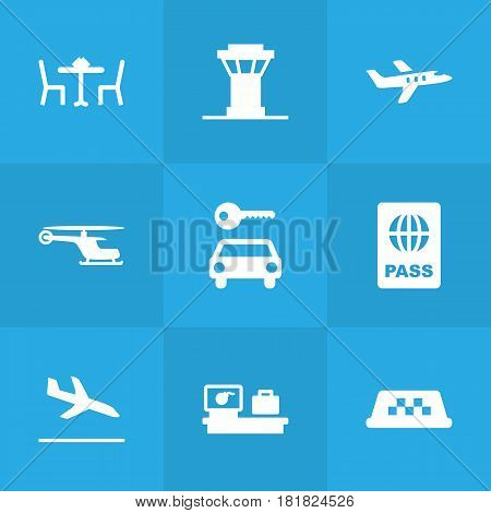 Set Of 9 Aircraft Icons Set.Collection Of Resolver, Letdown, Aircraft And Other Elements.