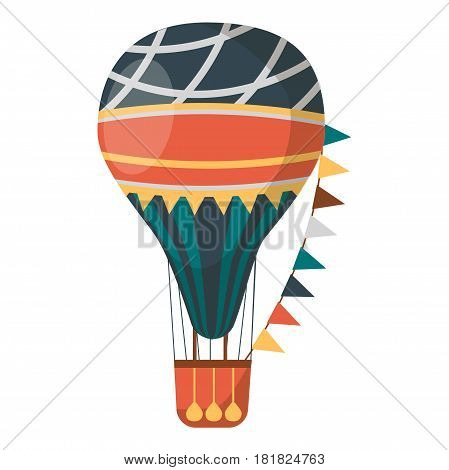 Air balloon decorated with flags isolated on white background. Transportation item with basket and heavy bags. Vintage transport for short distance journey vector illustration in flat style design