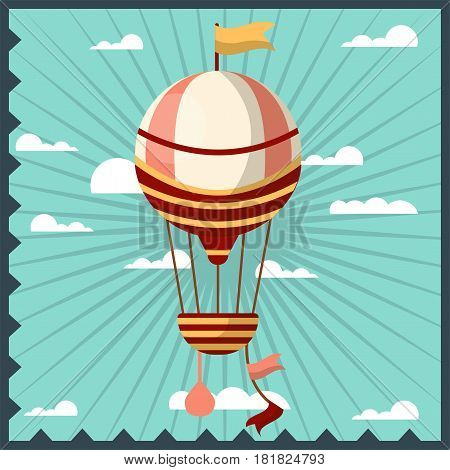 Airballon isolated in sky with white clouds colorful greeting card with dark blue wavy frame. Fast airy mean of transportation with basket for people and big wind-blown ball vector illustration