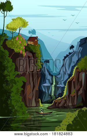 vector illustration of Nature Landscape scenery Background