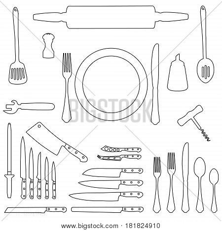Vector illustration kitchen tool collection outline drawing. Kitchen utensil line icon set. Cutlery icons