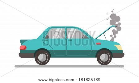 Crashed blue car with open hood, vector illustration isolated on white. Auto insurance concept. Overheated breakdown vehicle in trouble. Damaged in crash auto with smoked motor in flat style
