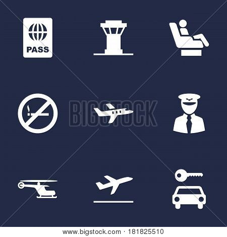 Set Of 9 Land Icons Set.Collection Of Leaving, Aviator, Passport And Other Elements.