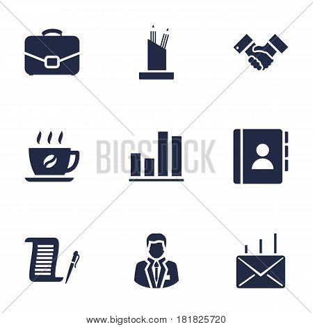 Set Of 9 Bureau Icons Set.Collection Of Pencil Stand, Coffee, Handshake Elements.