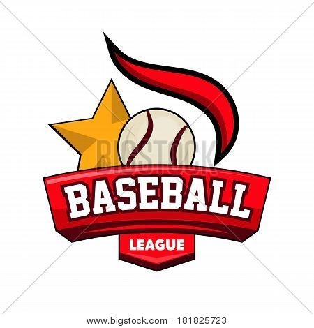 Baseball league logotype with ball, golden star and firing element vector illustration. Equipment for game poster, sport emblem for tournaments or competitions. Achievement template with label banner