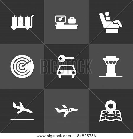 Set Of 9 Airplane Icons Set.Collection Of Vip, Hire, Radiolocator And Other Elements.