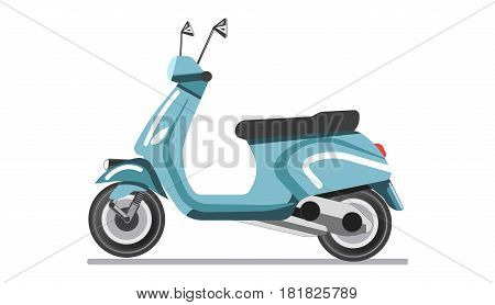 Scooter light two-wheeled open motor vehicle isolated on white vector illustration. Bike on which driver sits over enclosed engine with legs together, feet resting on floorboard. Self-balanced moped